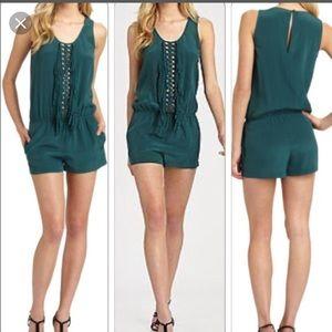 BCBGMaxAzria Pants - Green Fringe Romper